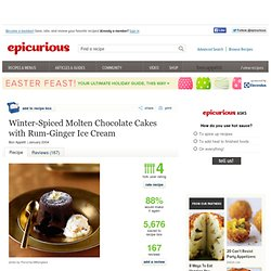 Winter-Spiced Molten Chocolate Cakes with Rum-Ginger Ice Cream Recipe at Epicurious