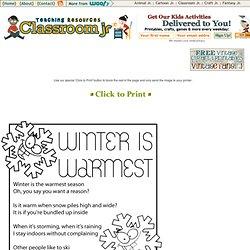Winter Kids Poems Winter is Warmest Kids Poem – Classroom Jr.