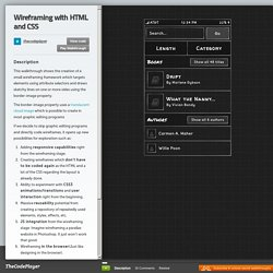 Wireframing with HTML and CSS