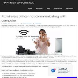 Fix wireless printer not communicating with computer