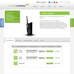 Amped Wireless SR300 High Power Wireless-N Range Extender Support Page