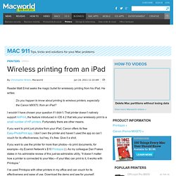Wireless printing from an iPad