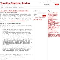 QUICK STEPS FOR HP DESKJET 2540 WIRELESS SETUP