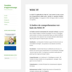 WISC IV - Troubles d'apprentissage
