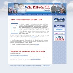 Wisconsin Autism Directory of Resources