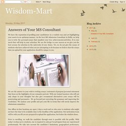 Wisdom-Mart : Answers of Your MS Consultant