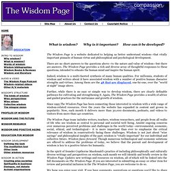 The Wisdom Page --- a site devoted to wisdom resources