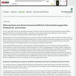 (mirror) - Stellungnahme zum Vorwurf wissenschaftlichen Fehlverhaltens gegenüber Professor Dr. Jens Förster
