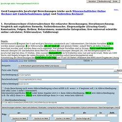 universeller wissenschaftlicher online Iterationsrechner (Iterationsrechnung, scientific online calculator)