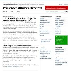 Die Zitierfähigkeit der Wikipedia und anderer Internetseiten