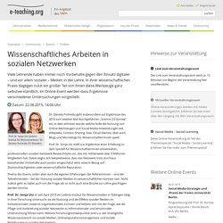Wissenschaftliches Arbeiten in sozialen Netzwerken — e-teaching.org