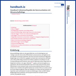 Handbuch CoScience/Aspekte der Kommunikation mit Wissenschaftsblogs – Handbuch.io