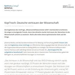 Kopf hoch: Deutsche vertrauen der Wissenschaft » Detritus » SciLogs - Wissenschaftsblogs