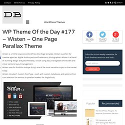 WP Theme Of the Day #177 – Wisten – One Page Parallax Theme