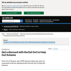[Withdrawn] Get a discount with the Eat Out to Help Out Scheme
