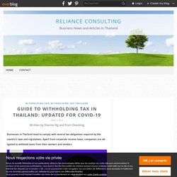 Guide to Withholding Tax in Thailand: Updated for COVID-19 - Reliance Consulting