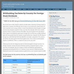 Withholding Tax Rates by Country for Foreign Stock Dividends