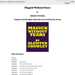 Magick Without Tears -- Contents