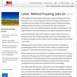 Letter: Without Fracking, Jobs Go