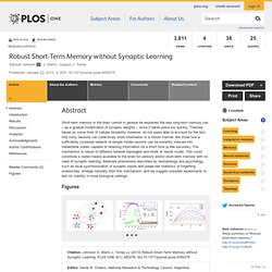 Robust Short-Term Memory without Synaptic Learning