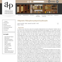 Wittgenstein : Philosophie et pratique de la philosophie
