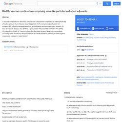 WO2017044890A1 - Bird flu vaccine combination comprising virus-like particles and novel adjuvants