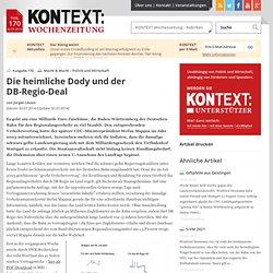 KONTEXT:Wochenzeitung - Ausgabe 170 - Die heimliche Dody und der DB-Regio-Deal