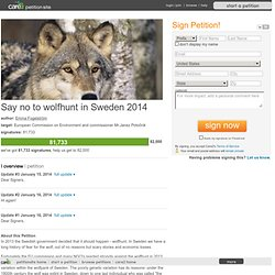 Say no to wolfhunt in Sweden 2014
