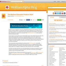 The Wolfram Education Portal Is Here!
