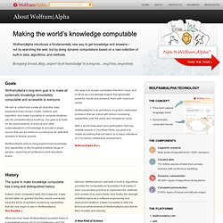 About Wolfram|Alpha: Making the World's Knowledge Computable