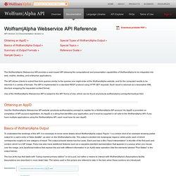 WolframAlpha API: Documentation