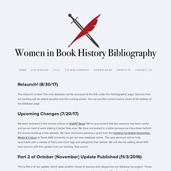 News — Women in Book History Bibliography