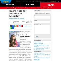 God's Role for Women in Ministry