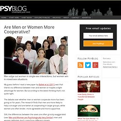 Are Men or Women More Cooperative?