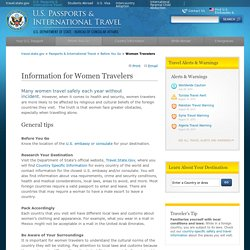 Women Travelers Tips from U.S. State Department