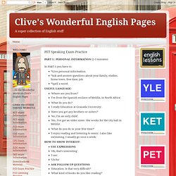Clive's Wonderful English Pages: PET Speaking Exam Practice
