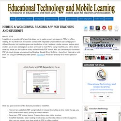 Educational Technology and Mobile Learning: Here Is A Wonderful Reading App for Teachers and Students