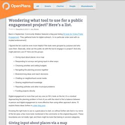 Wondering what tool to use for a public engagement project? Here's a list.