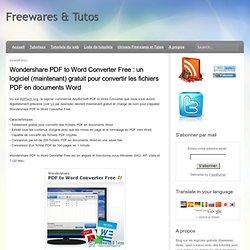 un logiciel (maintenant) gratuit pour convertir les fichiers PDF en documents Word