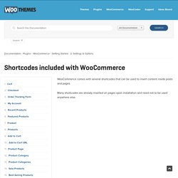 Shortcodes included with WooCommerce