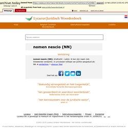nomen nescio (NN) - Lycaeus® Juridisch Woordenboek - Nederlands recht
