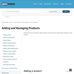 Adding and Managing Products