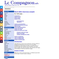 Word 2003 - Excercice complet