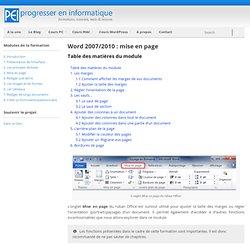 Word 2007/2010 : mise en page