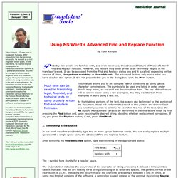 MS Word's Advanced Find and Replace Function