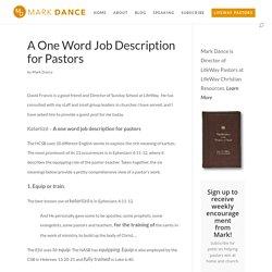 A One Word Job Description for Pastors