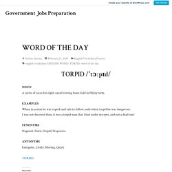 WORD OF THE DAY – Government Jobs Preparation
