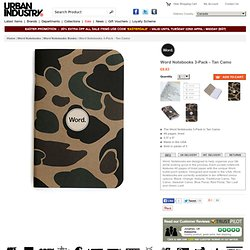 Word Notebooks 3-Pack - Tan Camo at Urban Industry