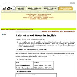 Word Stress Rules