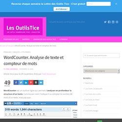 WordCounter. Analyse de texte et compteur de mots – Les Outils Tice